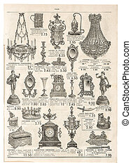 antique victorian objects. retro shop advertising