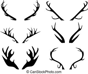 Vector illustration of silhouettes of antlers