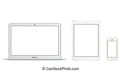 Apple Mac Book Air Ipad Air Iphone 5s vector illustration eps 10