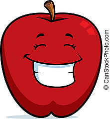 A cartoon red apple happy and smiling.