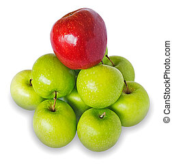 Heap of green apples with the red one on the top