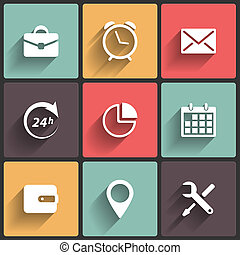 Application Icons in Flat Design for Web and Mobile