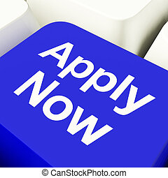 Apply Now Computer Key In Blue For Work Applications