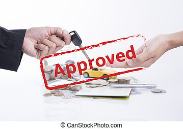 Approved mortgage loan agreement application with car and key.