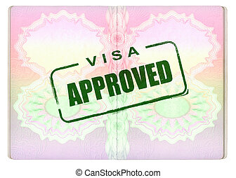 Approved Green Visa Stamp on Passport pages