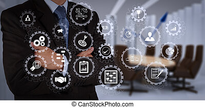 AR virtual screen dashboard with project management with icons of scheduling, budgeting, communication. businessman hand drawing a pie chart and 3d graph