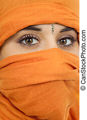 young woman with a veil close up portrait studio picture