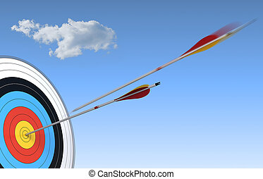 archery, target and arrow over blue sky background with one arrow in action and the other one who have reach the center
