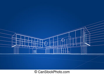 Architecture blueprint on blue background
