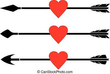 arrow and heart vector set