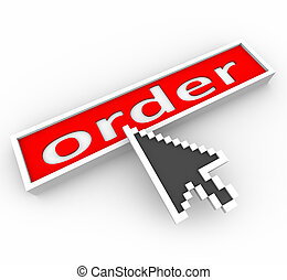A digital arrow hovers over a red button marked Order and is about to press it