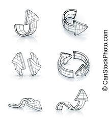 Arrows set, vector drawing