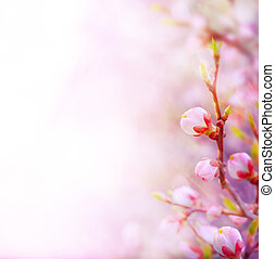art Beautiful spring blossoming tree on sky background