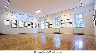 Empty art gallery view with blank pictures