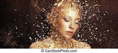 Art photo of golden lady splintering to thousands elements