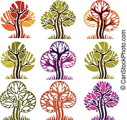 Art vector seasonal trees collection, can be used as design symbol on ecology and nature theme. Gardening theme, botany symbols.