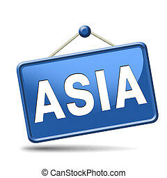 asia for travel and tourism vacation destination leading to asian continent button or icon