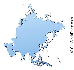 Asia map filled with light blue gradient. High resolution. Mercator projection.