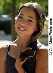 Asian beautiful girl on a sunny day