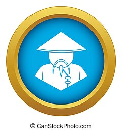 Asian man in conical hat icon blue isolated