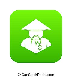 Asian man in conical hat icon digital green
