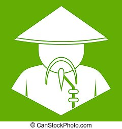 Asian man in conical hat icon green