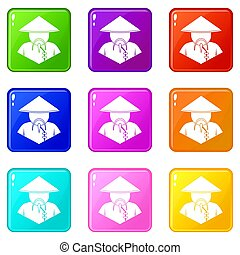 Asian man in conical hat icons 9 set
