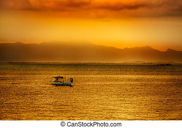 Asian sunset over water