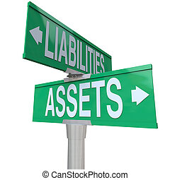 Assets and Liabilities words on green two way street or road signs to illustrate the balance between things of monetary value such as stocks, bonds and savings and costs that reduce value
