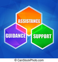 assistance, support, guidance - business concept words in color hexagons over blue background, flat design