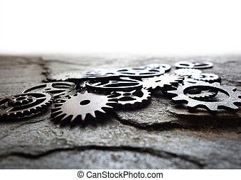 Assorted metal machine gears