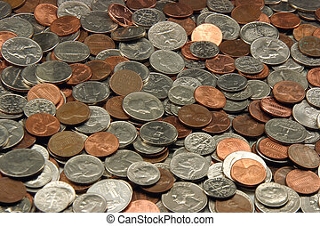Assorted US Coins, dimes, quarters, nickels, pennies