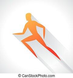 Athletics emblem of abstract stylized running man. Sport concept for advertising, branding, illustration