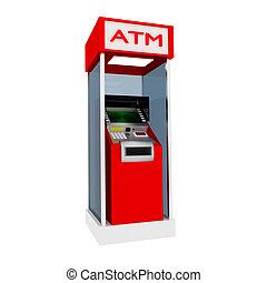 3d red atm cash dispenser in white.