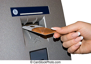 Female hand inserts banking card