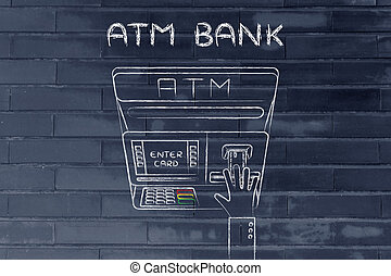 atm and hand inserting credit card, with text ATM Bank