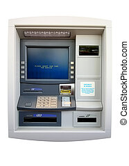 ATM - Automated Teller Machine. Isolated on white. Includes clipping path