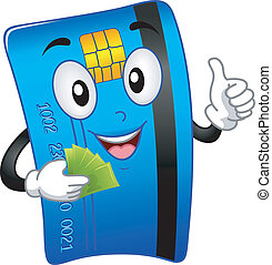 Mascot Illustration Featuring an ATM Card