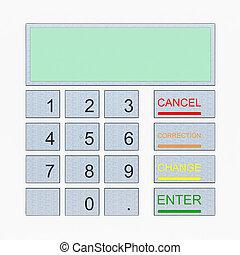 ATM keypad isolated on white
