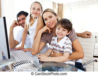 Attentive parents and their children using a computer