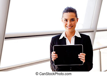 young businesswoman holding a tablet