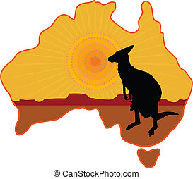 A stylized map of Australia with a silhouette of a kangaroo with a joey in its pouch