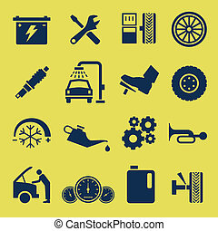 A set of car repair and services icons.