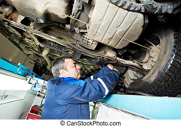 auto mechanic at wheel alignment work with spanner