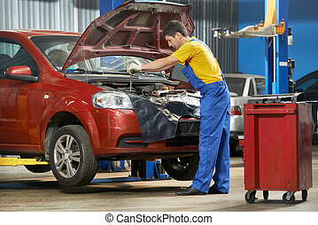 auto mechanic at work with wrench