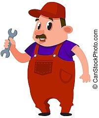 Auto mechanic holding wrench.