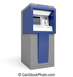 Automated teller machine on white background