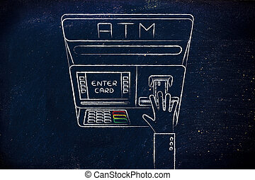 automatic teller machine with hand inserting credit card