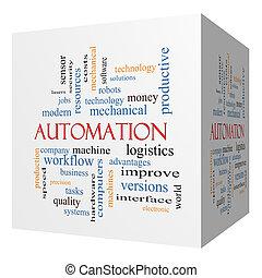 Automation 3D cube Word Cloud Concept