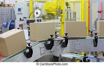 automation - boxes on conveyor belt